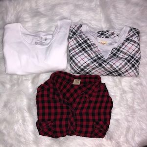 Bundle of 3 items- 1 button up and 2 shirts